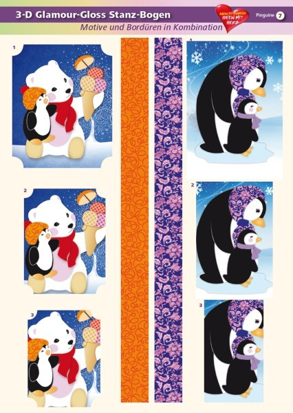 3-D GlamourGloss Bogen, Pinguine, DIN A4, Motiv 7