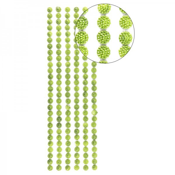 Halbperlen-Bordüren, Perlenblüte, 10cm x 30cm, selbstklebend, grün