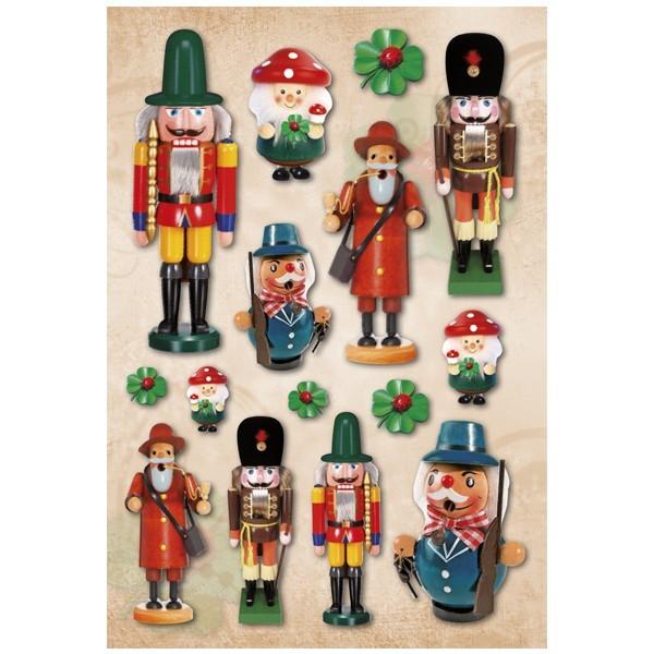 3-D Stickerbogen, Weihnachten/Nussknacker, 12,5 x 18,5 cm
