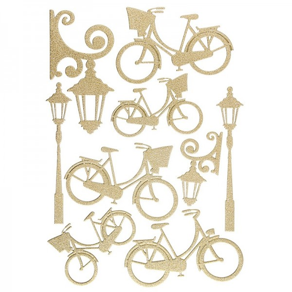 """3-D Sticker """"Deluxe Fahrräder & Laternen"""", verschiedene Größen, selbstklebend, gold"""
