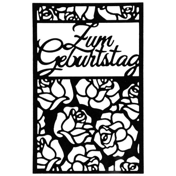 Stanzschablone, Zum Geburtstag, 9,5 cm x 14,5 cm, passend für gängige Stanzmaschinen