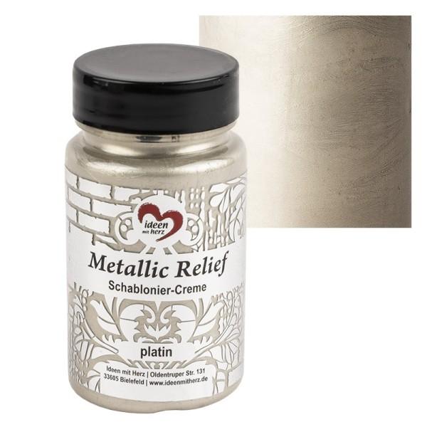 Metallic Relief, Schablonier-Creme, platin, 90ml