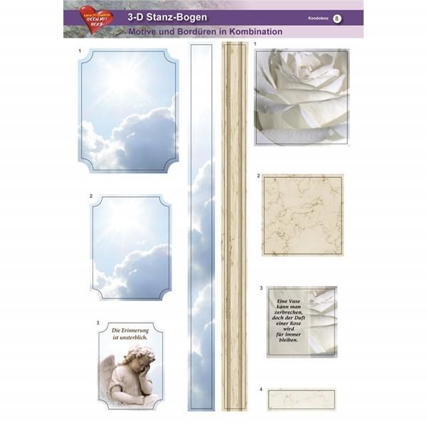 3-D Stanz-Bogen, Kondolenz, DIN A4, Motiv 8