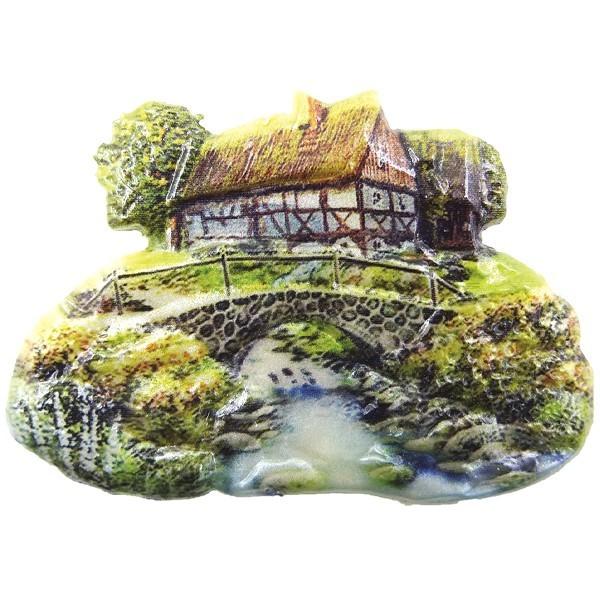 Wachsornament Sommerdörfer 10, farbig, geprägt, 8cm