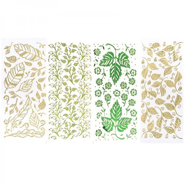 Stickerbogen, Blätter, Spiegelfolie, verschiedene Farben, 4 Stück