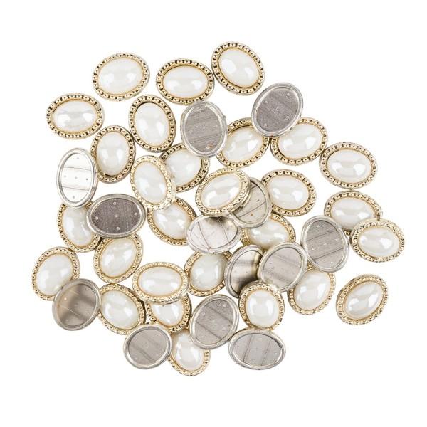 Premium-Schmucksteine, ovales Ornament, 1,8cm x 1,4cm x 0,5cm, hellgold, mit Keramikstein, 40 Stück