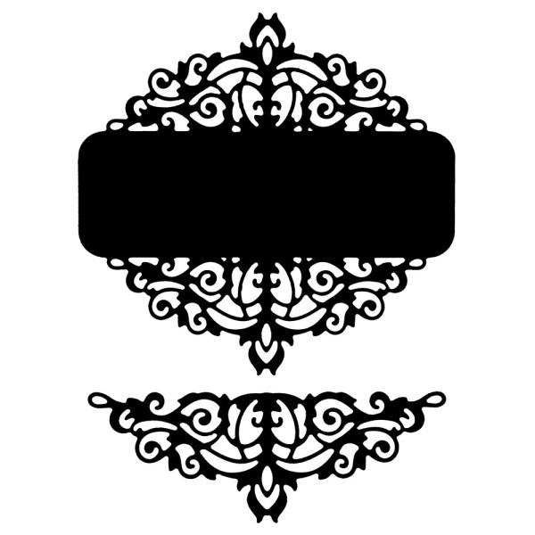 Stanzschablonen, Kartenaufleger Ornament 1, 9,7cm x 9,3cm, 9,4cm x 3,6cm, 2 Stück