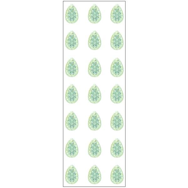 Kristallkunst, Schmuckstein Tropfen 1, 10cm x 30cm, selbstklebend, hellgrün irisierend