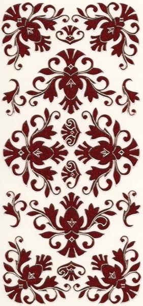Microglitter-Sticker, Schnörkelornament 2, rot