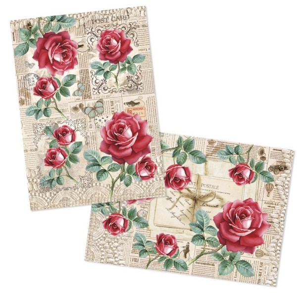 """Reispapiere, Nostalgie """"Blüten 8"""", DIN A4, 2 Designs"""