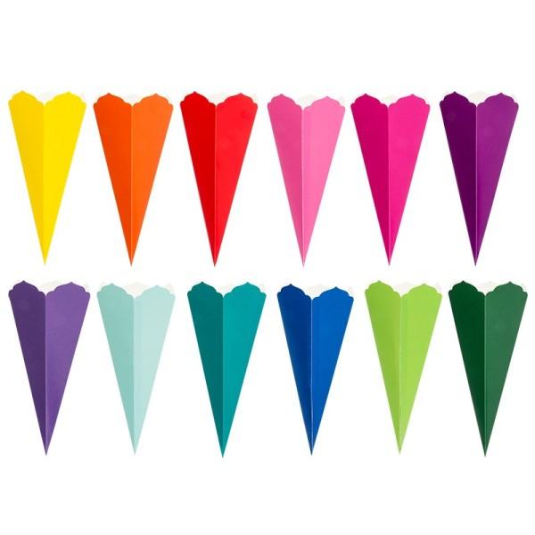 Schultüten, Zierkante, 14cm hoch, Ø 6cm, Deko-Karton, verschiedene Farben, 12 Stück