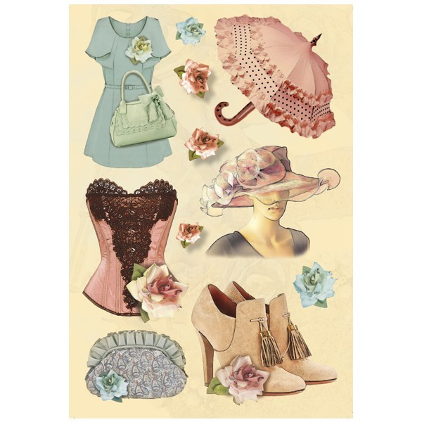 3-D Stickerbogen, Fashion 04, 12,5 x 18,5 cm