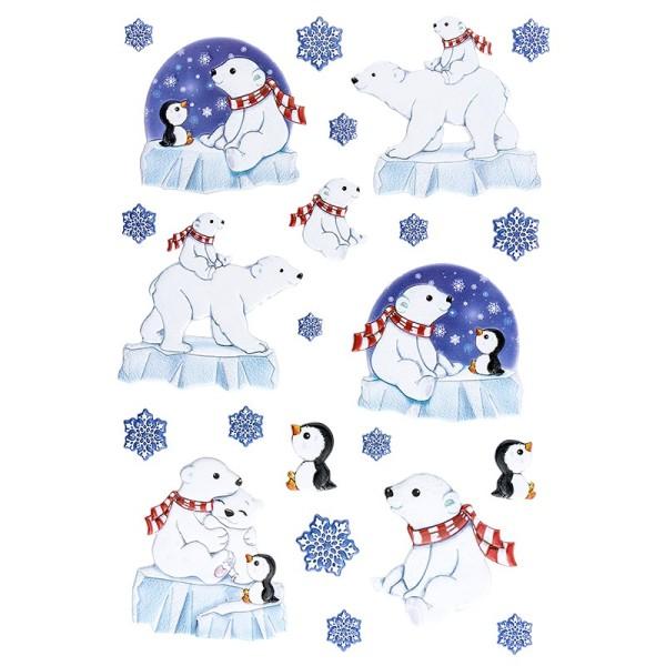 3-D Relief-Sticker, Eisbären & Pinguine, verschiedene Größen, selbstklebend,