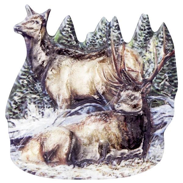 Wachsornament Tiere im Winter 3, farbig, geprägt, 7cm