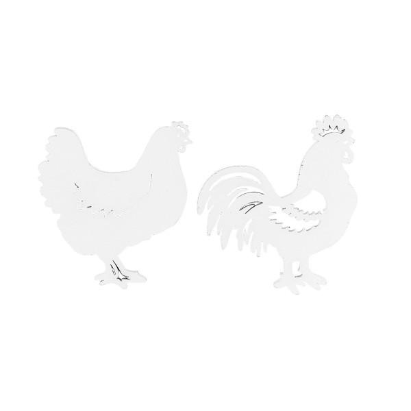 Hühner & Hähne, Holz, 2 Designs, weiß, 15 Stück