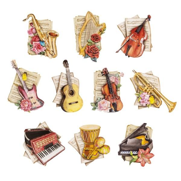 3-D Motive, Musik-Instrumente, 6,5-11cm, 10 Motive