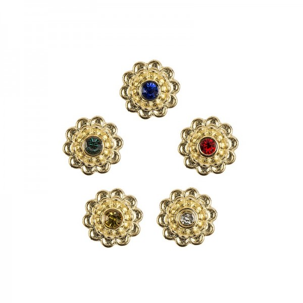 Premium Schmucksteine, Strassblüte 1, Ø 1,5 cm, mit farbigen Glas-Kristallen, gold, 50 Stück