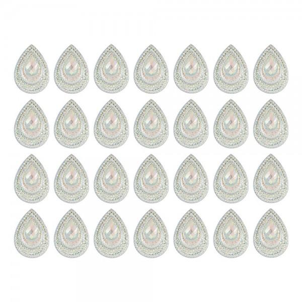 Schmucksteine, Tropfen 5, 1,7cm x 2,4cm, klar, irisierend, silberne Rückseite, 28 Stück