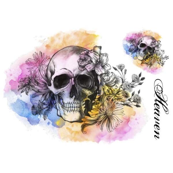 Color Bügeltransfers, DIN A4, Heaven, Totenkopf mit Blumen