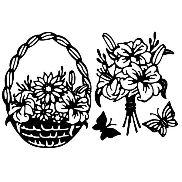 Stanzschablonen, Blumenkörbchen & Blumenstrauß,  4 Stück