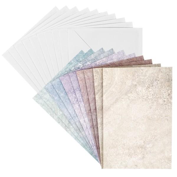 Motiv-Grußkarten, Marmoroptik, 5 versch. Farbtöne, B6 (11,5cm x 16,5cm), inkl. Umschläge, 10 Stück