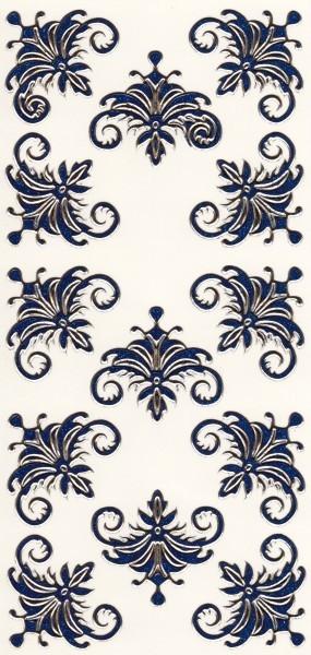 Microglitter-Sticker, Schnörkelornament 1, blau