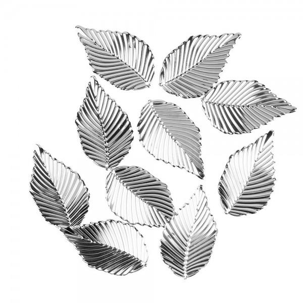 Metall-Ornamente, Blatt 6, 5,5cm x 3,1cm, silber, 10 Stück