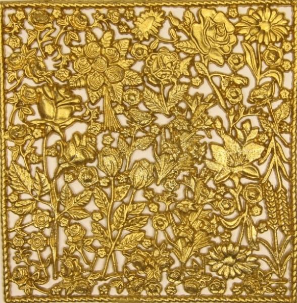 Wachsornament-Platte Rosen, 16 x 16 cm, gold