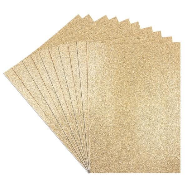 Moosgummi, selbstklebend, Glitzer 1, DIN A4, 2mm, gold, 10 Bogen