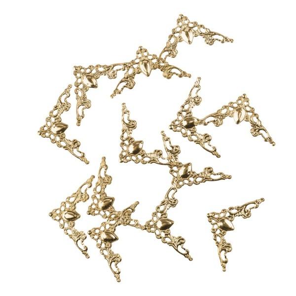 Metall-Ornamente, Design 18, 5,8cm x 3cm, hellgold, 13 Stück