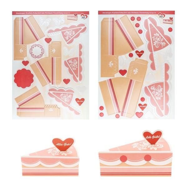 Stanzbogen, Kuchen-Schachteln, Design 2b & 2c, DIN A4, 10 Stück