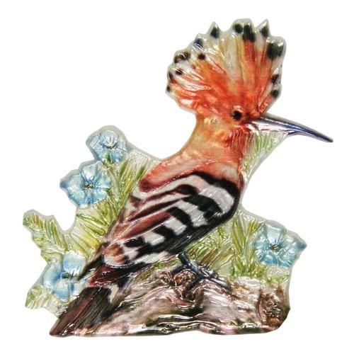 Wachsornament, Wiedehopf, farbig, geprägt, 7,5x7,5cm