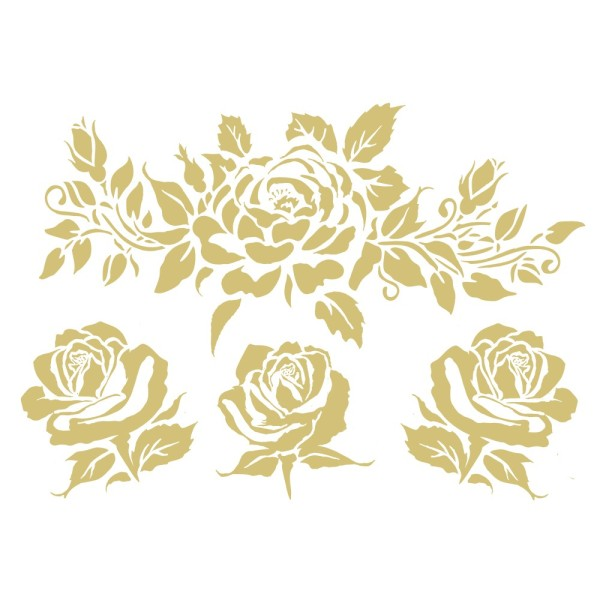 Metallic-Bügeltransfers, Rosen 6, DIN A4, gold glänzend