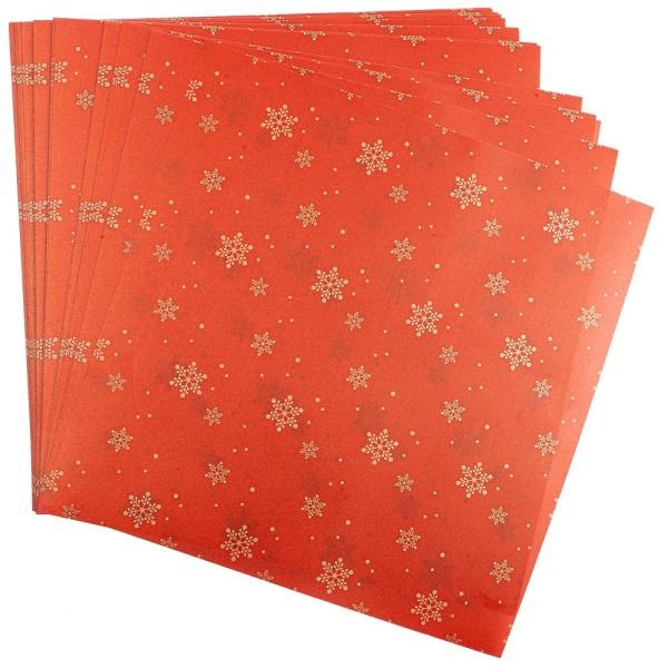 Faltpapiere, transparent, Eiskristalle, 20cm x 20cm, 110 g/m², rot/gold, 100 Stück