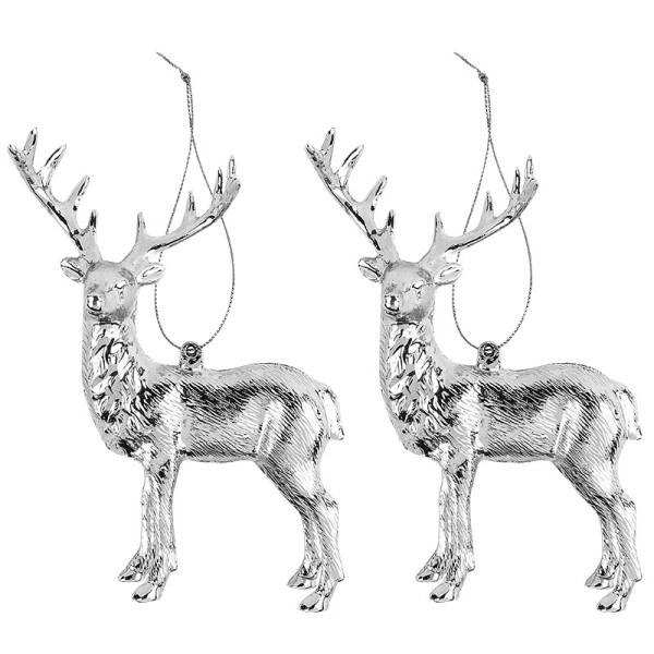 Deko-Hirsche, Design 1, 11,5cm x 14,5cm, silber-metallic, 2 Stück