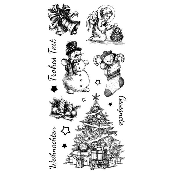 Feinkontur-Stempel, einzelne Motive auf Trägerfolie, Weihnachten