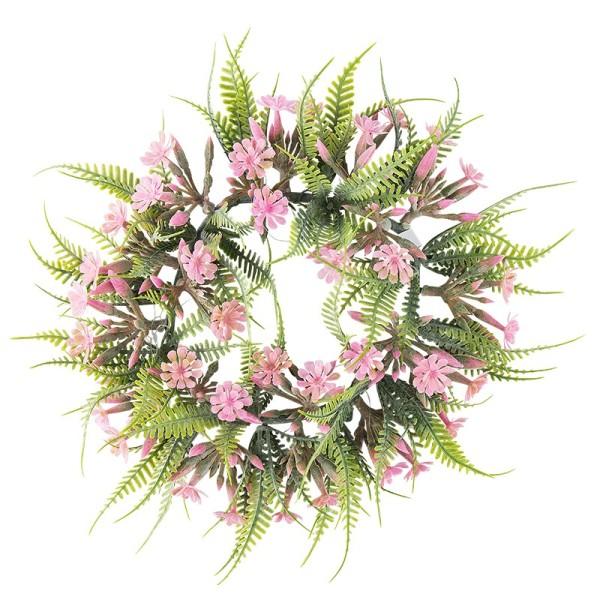 Deko-Kranz, Design 4, innen: Ø 11cm, außen: Ø 25,5cm, mit Farn und rosafarbenen Blüten
