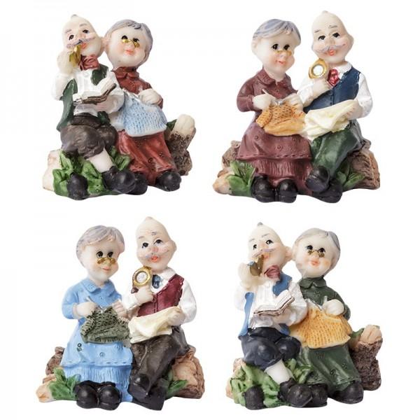 Oma & Opa Steinharzfiguren, 4 Stück