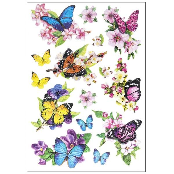 3-D Relief-Sticker, Schmetterlinge auf Zweigen, verschiedene Größen, selbstklebend