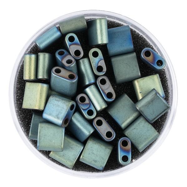 Hämatit-Perlen, Quadrat, 6mm x 6mm x 3mm, matt-grünblau changierend, 30 Stück