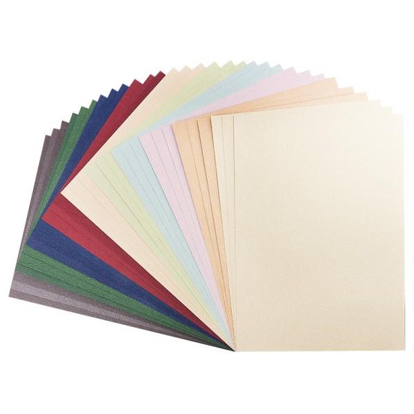 """Präge-Karton """"Prag"""", DIN A4, 9 verschiedene Farben, 30 Bogen"""