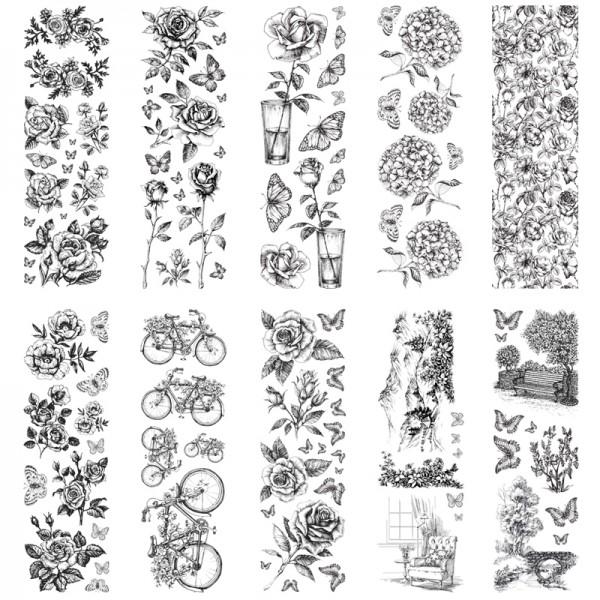 Rubbel-Transferbogen, Landschaft & Blumen, 10x30cm, 10 Stück