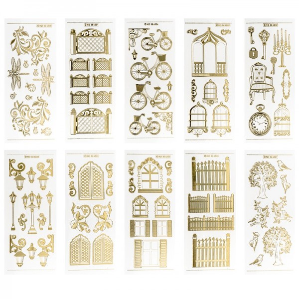 Gravur-Stickerbogen, Vintage, 10cm x 23cm, transparent/gold, 10 Bogen