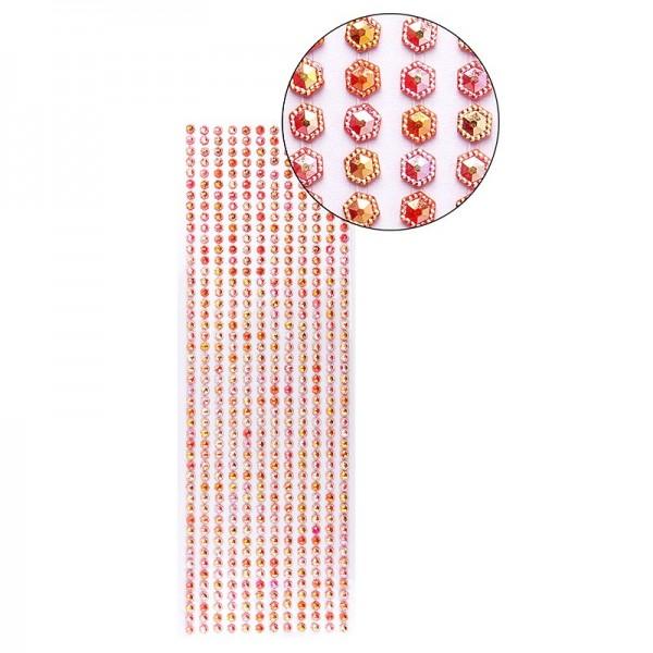 Schmuckstein-Bordüren, selbstklebend, facettiert, irisierend, Sechsecke Ø 5mm, 29cm, rot