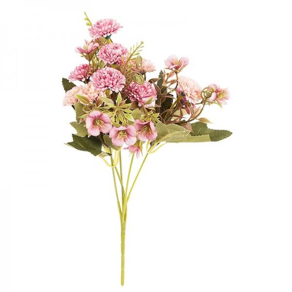 Blütenbusch, Mini-Hortensien, 28cm hoch, 10 große Blüten Ø 3cm, Rosatöne