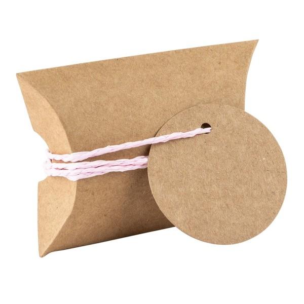 Kraftpapier-Kissentaschen, 6,5cm x 9cm, inkl. Anhänger & rosa Papierkordel, 50 Stück