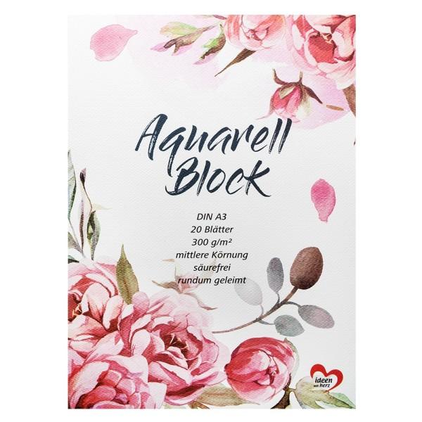 Aquarell-Block, DIN A3, 20 Blätter, 300 g/m²