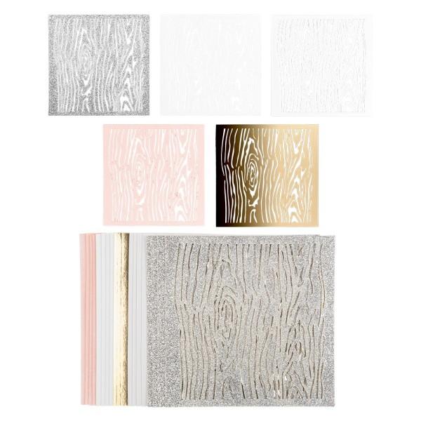 Laser-Kartenaufleger, Hintergrund, Holzmaserung, 14cm x 14cm, 220 g/m², 5 Farben, 20 Stück