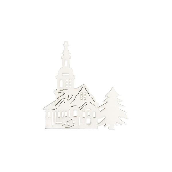 Kirchen aus Holz, weiß, 7,5cm x 7,9cm x 0,3cm, 16 Stück