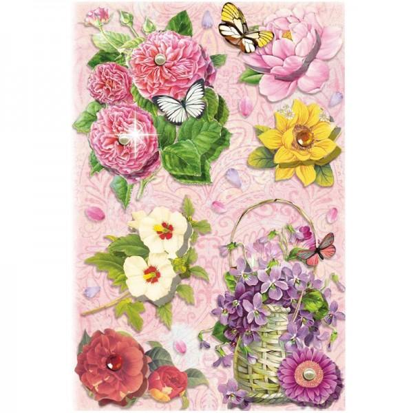 3-D Stickerbogen, Blumen auf Rosa 1, 12,7 x 18,8 cm